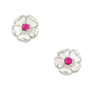 Ruby is the Birthstone for July Sterling-Silver-Rose-Stud-Earrings-set-with-Ruby-58