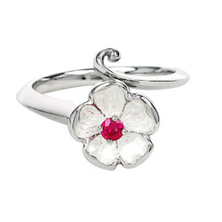 Ruby is the Birthstone for July Sterling Silver Rose Ring set with Ruby