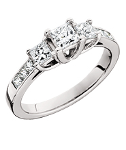 14kt White Gold Anniversary Ring with 3 Princess Cut Diamonds